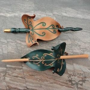 Elvish Leaf Leather Hair Slides