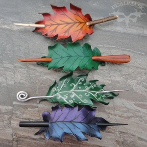 Oak Leaf Leather Hairslides