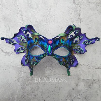 purple leather butterfly mask