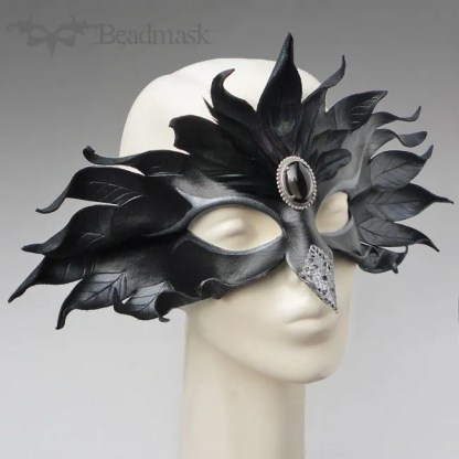 Silver Raven Leather Mask