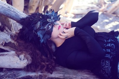 leather raven headdress