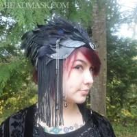 leather raven headdress
