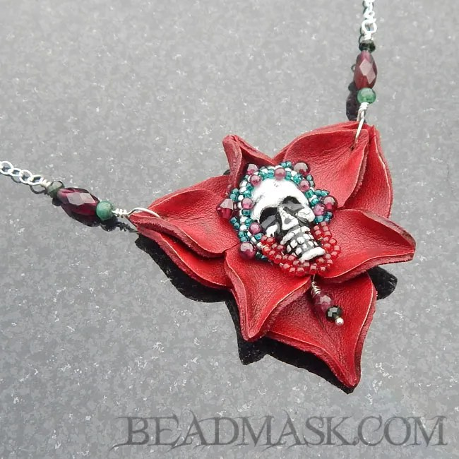 Skull & Rose Leather pendant
