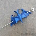 Indigo blue bat hair stick barrette