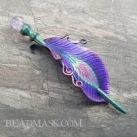 Amethyst Peacock Barrette