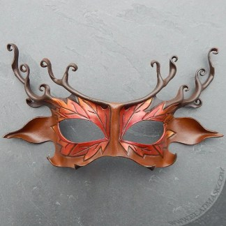 leather stag mask with autumn leaf motif