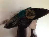 Brown velvet tricorn hat