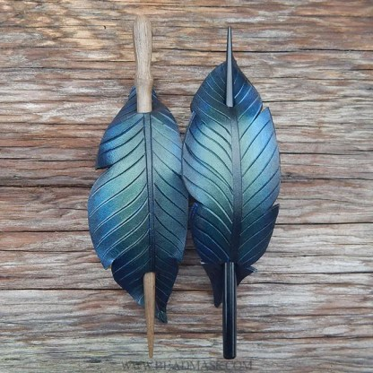 leather crow feather barrettes