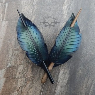 leather raven feather barrettes