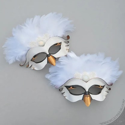 white swan leather mask