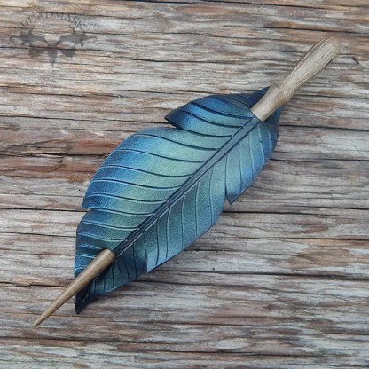 leather raven feather barrette