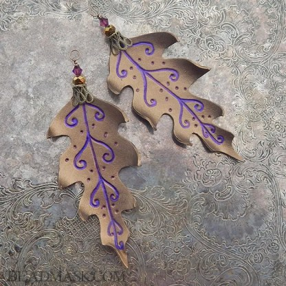 set of 2 bronze leather leaf ornaments