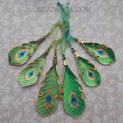 peacock feather holiday ornaments