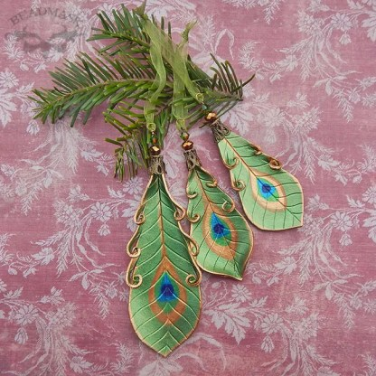 olive green peacock ornaments