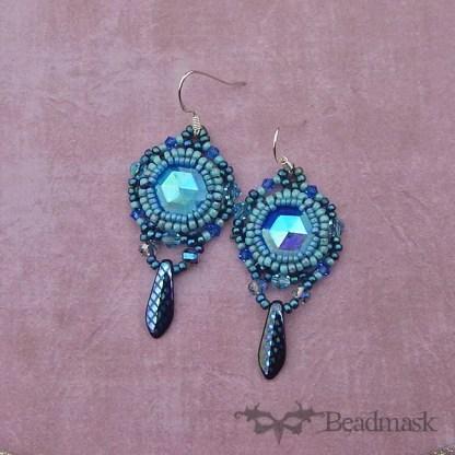 dusky blue beaded earrings