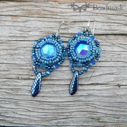 vintage glass cabochon earrings