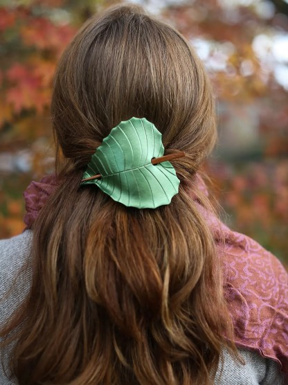 leather birch leaf barrette in olive green