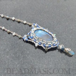 beadwoven labradorite and sterling silver necklace