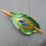 lemerald leather peacock feather shawl pin