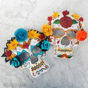 leather sugar skull masks