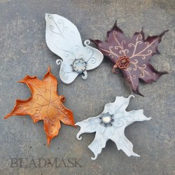 Fantasy leaf leather barrettes