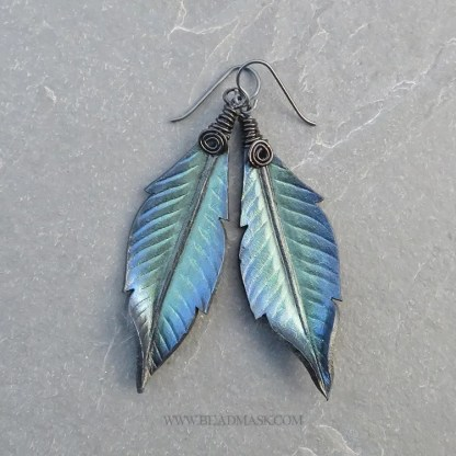 leather raven feather earrings