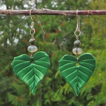 green birch leaf leather earrings