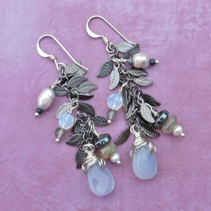 gemstone cluster earrings in silvery white hues