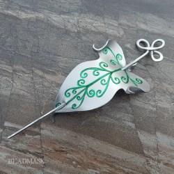 elvish leather leaf barrette