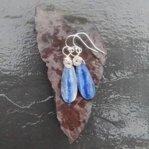blue kyanite and sterling silver water drop earrings