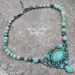 bead woven labradorite cabochon necklace in sage, seafoam and soft grey