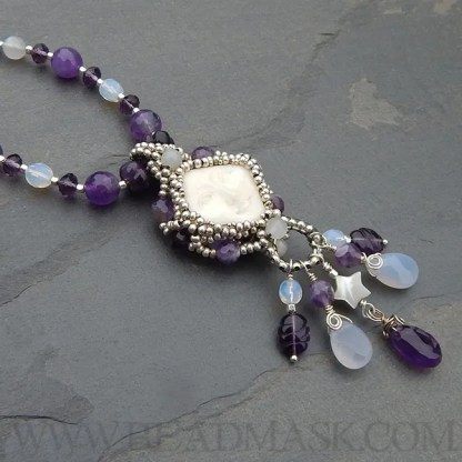 Snow moon beaded necklace