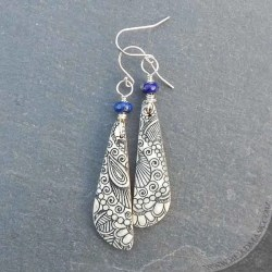 lapis and engraved bone earrings with henna design