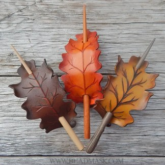 oak leaf leather hair barrettes with stick