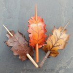 Leather oak leaf barrettes in autumn hues