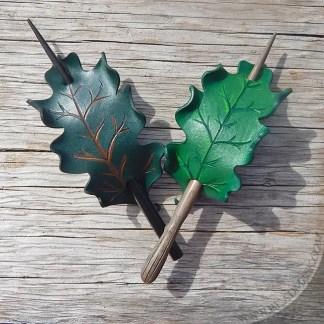 oak leaf leather hair stick barrettes