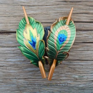 leather peacock feather shawl pins