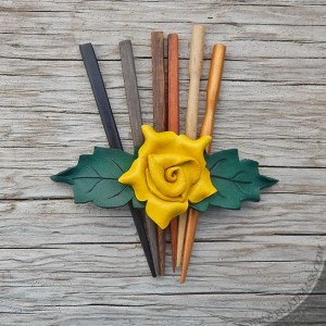 yellow leather rose hair stick barrette
