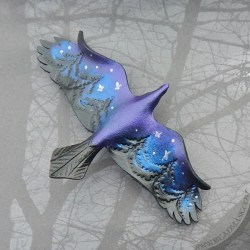 Starry night raven leather barrette