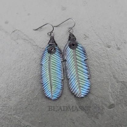 raven feather leather earrings