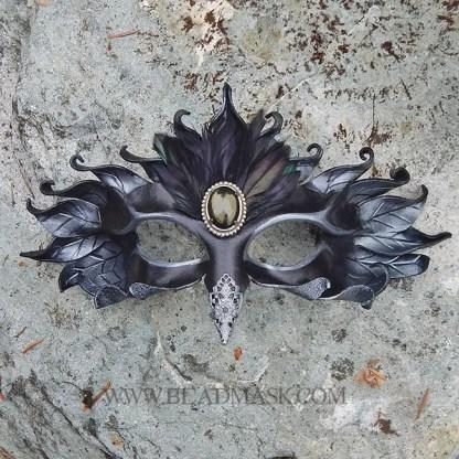 jeweled raven leather mask