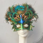 Sculpted leather peacock headdress