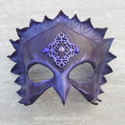 Purple crow jeweled leather mask.