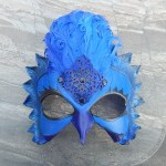 Fantasy leather bird  mask in shades of blue and black