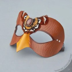 wood falcon leather mask