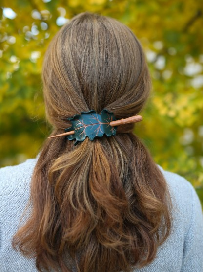 leather oak leaf barrette