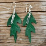 green oak leather leaf earrings with quartz crystal dangles and sterling silver