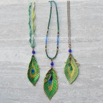 leather peacock feather pendants
