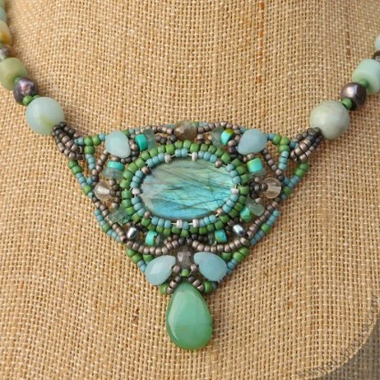 labradorite and amazonite beaded necklace