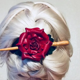 red rose leather hair stick barrette